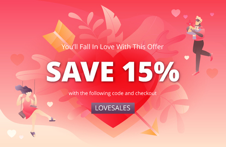 Vector banner template for Valentines promotion campaign with text sample, heart shape, and two lovely people characters.