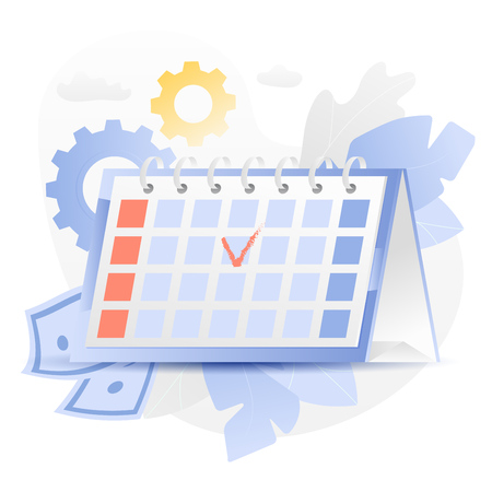 Vector illustration of a big desk calendar over white background surrounded by light gradiented leaves, cogwheels, paper money and clouds. Иллюстрация
