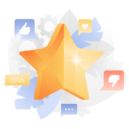 Rating star and social media icons around. Feedback, customer review or rating concept. Illustration