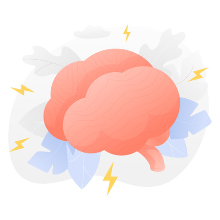 Vector illustration of a big brain over white background surrounded by light gradiented leaves, cogwheels and clouds. Иллюстрация