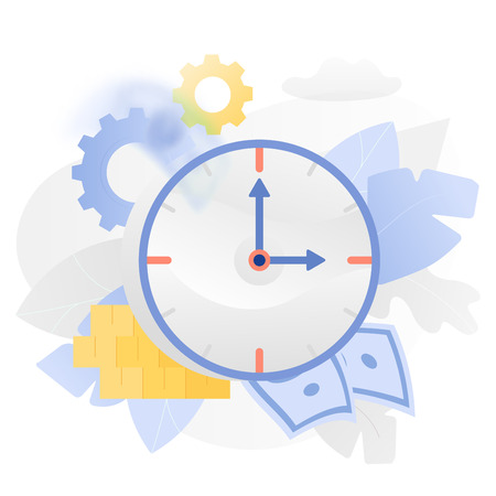 Vector illustration of a big watch over white background surrounded by light gradiented leaves, coins, paper money ang cogwheels. Иллюстрация