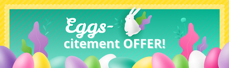 Vector design template of promotional banner for the Easter sale with eggs-citement OFFER! slogan, white bunny and colorful eggs. Promotional marketing concept for Easter.