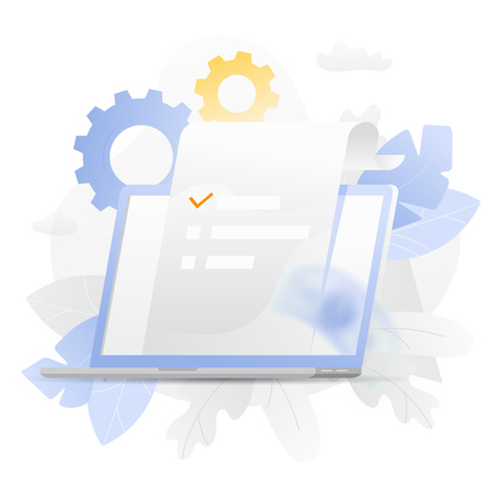 Vector illustration of a big open laptop with paper over white background surrounded by light gradiented leaves ang cogwheels. Иллюстрация