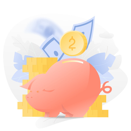 Vector illustration of a big Piggy Bank over white background with coins, paper money and leaves.