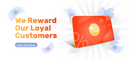 Discount and loyalty card header template with bright red 3d card. Loyalty program and customer service design.