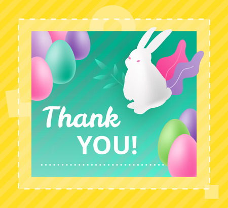 Vector design template of Card for the Easter greetings with Thank You words, white bunny and colorful eggs. Promotional marketing concept for Easter.