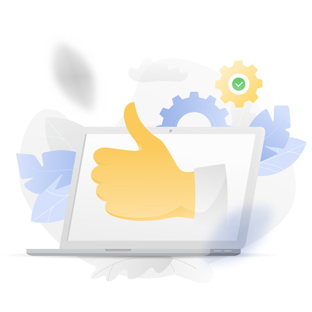 Vector illustration of a big thumb up symbol from laptop over white background surrounded by light gradiented leaves ang cogwheels.