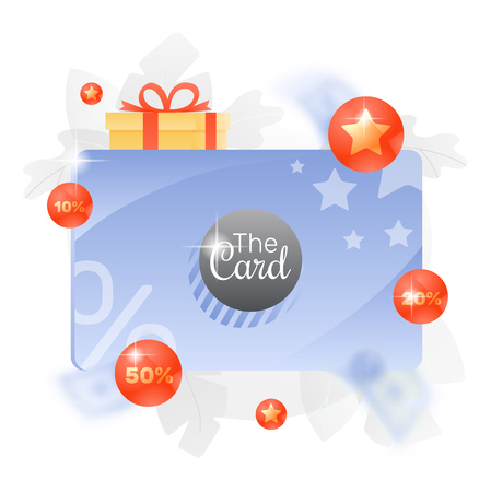 Vector illustration of a big discount and loyalty card over white background with percent signs, gift box and stars.