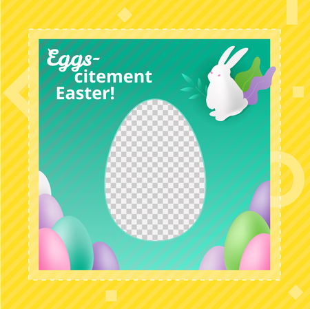 Vector design template of photo frame with transparent background and place for photo. Promotional marketing concept for Easter.