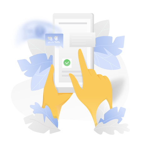 Vector illustration of hands holding a smartphone and swiping over white background with chat bubbles and leaves.