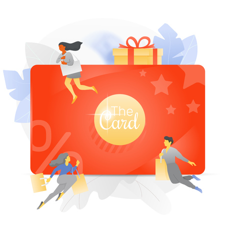 Vector illustration of a big discount and loyalty card over white background with tiny people characters, percent signs, gift box and stars.