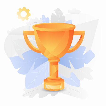 Vector illustration of a glossy orange trophy cup. Trendy and shiny gradient style.