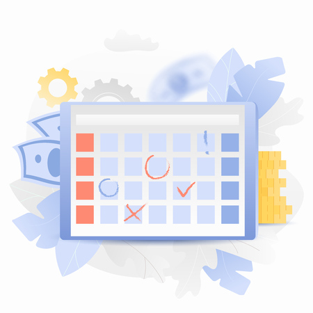 Vector illustration of a weekly planning soft interface over tablet screen. Trendy and shiny gradient style. Иллюстрация