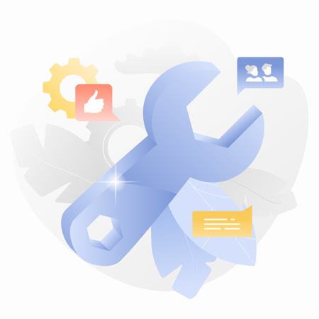 Blue shiny metal wrench with highlight on it surrounded by leaves, cogwheels and social media icons. Technical support and work concept. Vector. Иллюстрация