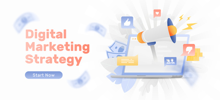 Big megaphone over open laptop surrounded by lightnings, leaves, money and social media icons. Digital marketing creative concept. Vector banner template. Иллюстрация