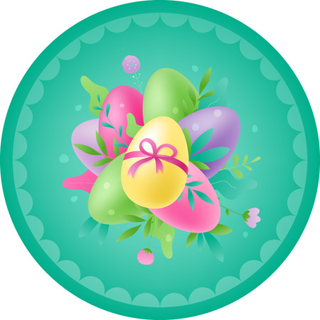 Easter colorful vector composition of painted eggs and flowers in rounded shape. Easter season greetings concept.