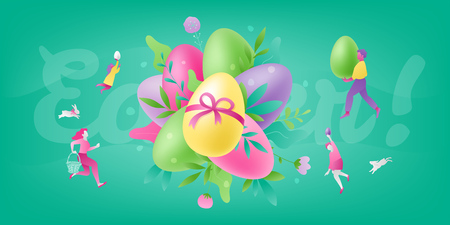 Easter colorful vector composition of painted eggs and flowers surrounded by tiny people characters: parents and kids. Easter season greetings concept.