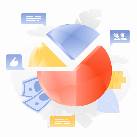 Big shiny pie chart surrounded by leaves, money and social media icons. Statistics and business report concept. Vector.