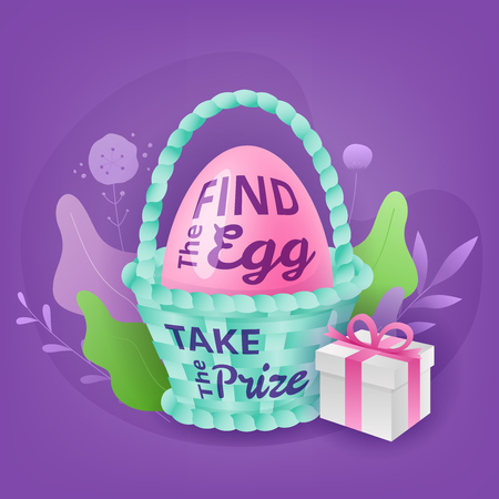 Easter colorful vector composition of painted egg in wicker basket, gift box and Find the Egg. Take the Prize lettering. Easter hunt season concept.