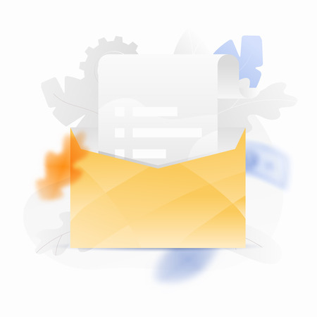 Vector illustration of an open envelope and paper parchment. Trendy and shiny gradient style.