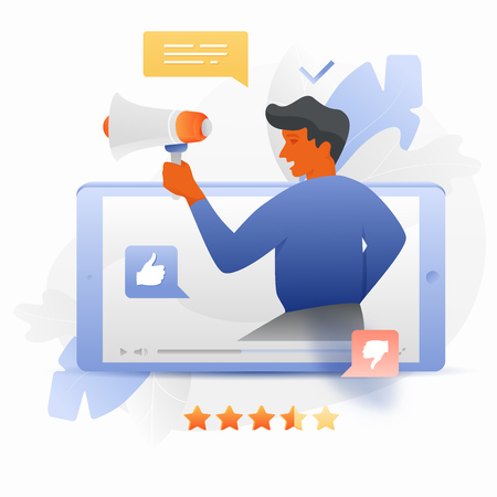 Vector illustration of a big blogger with megaphone sticking out of a video player on mobile phone. Influencer marketing concept.