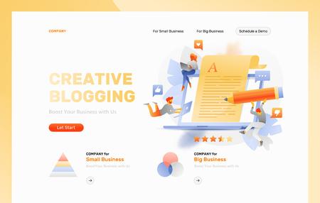 Plantilla de encabezado de página web de vector de blogs creativos. Gente diminuta alrededor de una hoja de papel que sobresale de una computadora portátil grande. Ilustración de vector