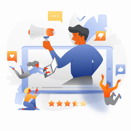 Vector illustration of tiny people around big blogger with megaphone sticking out of a video player on mobile phone. Influencer marketing concept.
