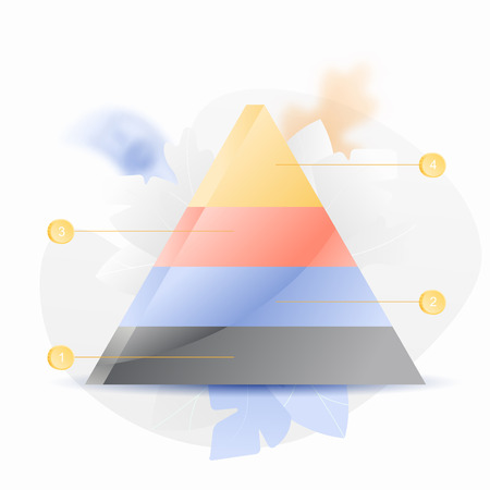 Vector illustration of a pyramid chart diagram. Trendy and shiny gradient style.
