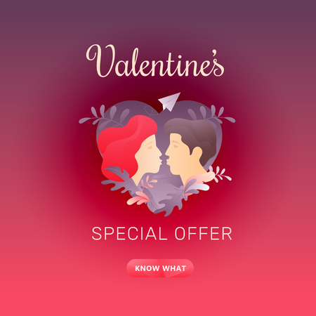 Valentine's day square red sale promotion banner with Valentine's Special Offer words, kissing couple profiles and call-to-action button. Nicely organized vector EPS10.