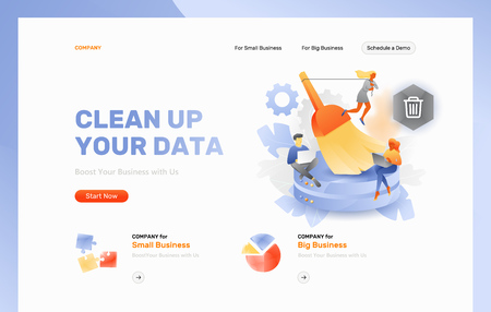 Vector web page header template of database cleansing. Tiny developers with big brush cleaning hard disks.