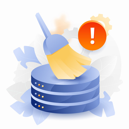 Vector illustration of database cleansing alert. Alert sign, big brush or broom cleaning up database.