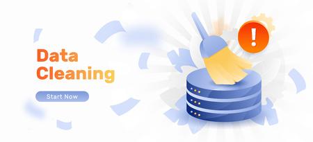 Plantilla de banner de vector de alerta de limpieza de base de datos. Señal de alerta, cepillo grande o escoba limpiando la base de datos.