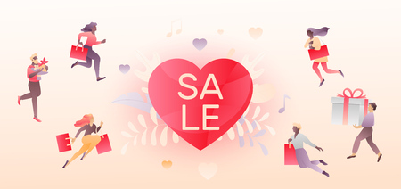 Valentines day horizontal beige sale promotional banner with SALE word, tiny people characters and heart shape.  Иллюстрация