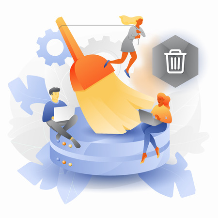 Ilustración vectorial de limpieza de bases de datos. Pequeños desarrolladores con gran cepillo limpiando discos duros.