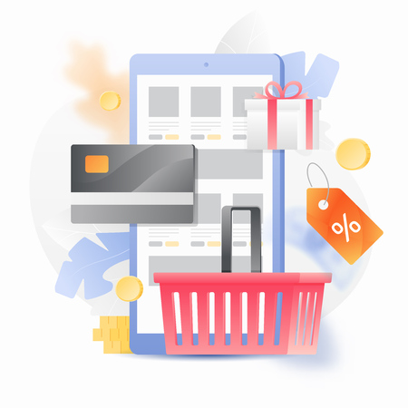 Vector illustration concept of online shop. Shopping basket, discount tag and credit card over a mobile phone with internet shop.