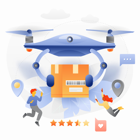 Vector illustration concept of drone delivery service. Drone with package box and tiny people characters in a modern flat gradient style.