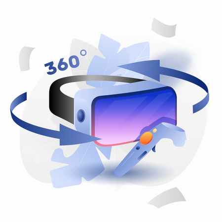 Vector virtual reality glasses with controller. Modern bright concept of vr games and entertainment.