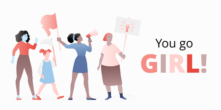 Vector banner template of four color independent women marching and handling megaphone and flags. Modern flat design concept for March 8 celebrations.