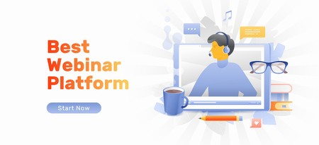 Best webinar platform concept with lector at the tablet PC screen, books, pencil, eyeglasses and cup of coffee. Internet based professional lectures, courses, modern education.