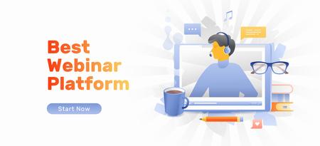 El mejor concepto de plataforma de seminarios web con lector en la pantalla de la tableta, libros, lápiz, anteojos y taza de café. Conferencias profesionales basadas en Internet, cursos, educación moderna.