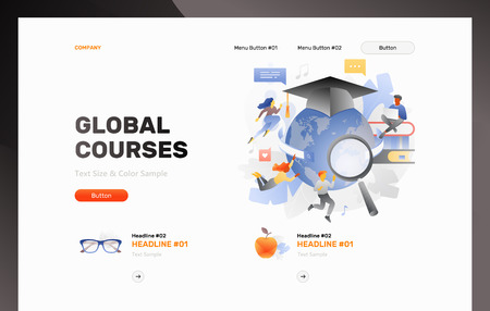 Global education header template with students studying online among books and globe in graduation cap. Web page header layout for online courses and web schools. Illustration