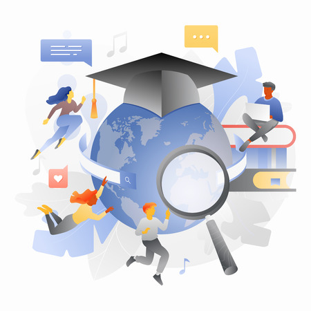 Global education metaphor. Students studying online among books and globe in graduation cap. Online learning, web school, study process.