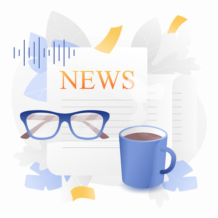 Newspaper vector concept. Folded newspaper, eyeglasses and cup of coffee over white background.
