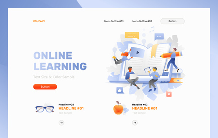 Online learning web header template with tiny people charactrs around an open laptop, e-book sticking out of screen, books, apple and eye glasses. Web page header layout for online courses and web schools.