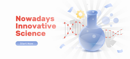 Nowadays innovative science banner template with flask and dna molecule. Trendy flat design concept with gradients. 向量圖像