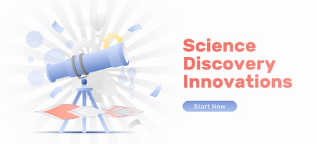 Science, discovery, innovations web banner template with a big telescope. Modern flat design concept with gradients.
