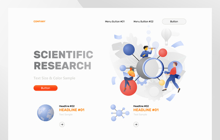 Scientific research web header template with a big molecule surrounded by tiny explorers. Modern flat design concept with gradients.