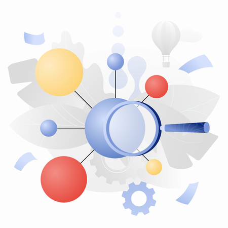 Scientific research vector illustration of a big molecule and magnifying glass. Modern flat design concept with gradients.