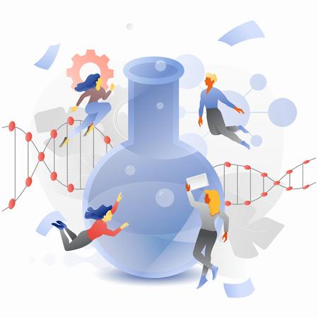 Tiny explorers around lab flask vector metaphor. Modern scientific flat design concept with gradients.