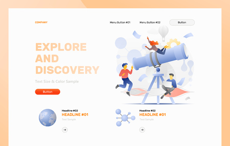 Explore and discovery web header template with a big telescope surrounded by tiny explorers. Modern flat design concept with gradients. Illustration